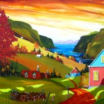 """Le grand rouge et le Fjord (30"""" x 40"""")"""