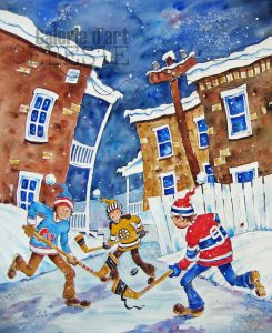 Soir de hockey - 30 x 24